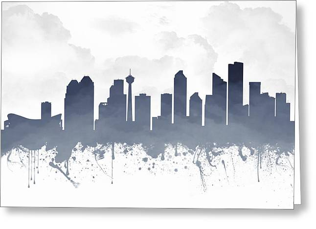 Town Mixed Media Greeting Cards - Calgary Alberta Skyline - Blue 03 Greeting Card by Aged Pixel