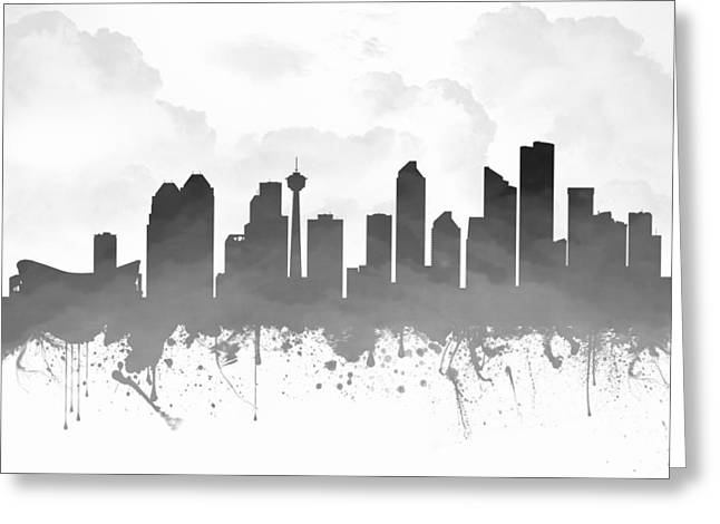 Town Mixed Media Greeting Cards - Calgary Alberta Skyline - Gray 03 Greeting Card by Aged Pixel