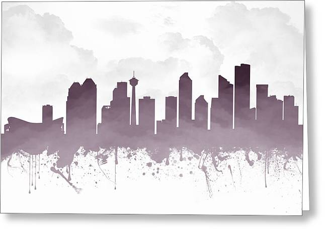 Town Mixed Media Greeting Cards - Calgary Alberta Skyline - Purple 03 Greeting Card by Aged Pixel