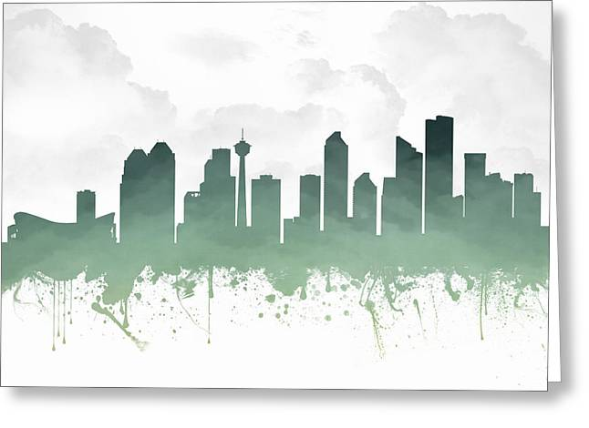 Town Mixed Media Greeting Cards - Calgary Alberta Skyline - teal 03 Greeting Card by Aged Pixel