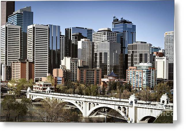 City Scapes Framed Prints Greeting Cards - Calgary Center Street Bridge Greeting Card by Tula Edmunds