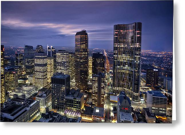 City Scapes Greeting Cards Greeting Cards - Calgary Dusk Skyline Greeting Card by Tula Edmunds