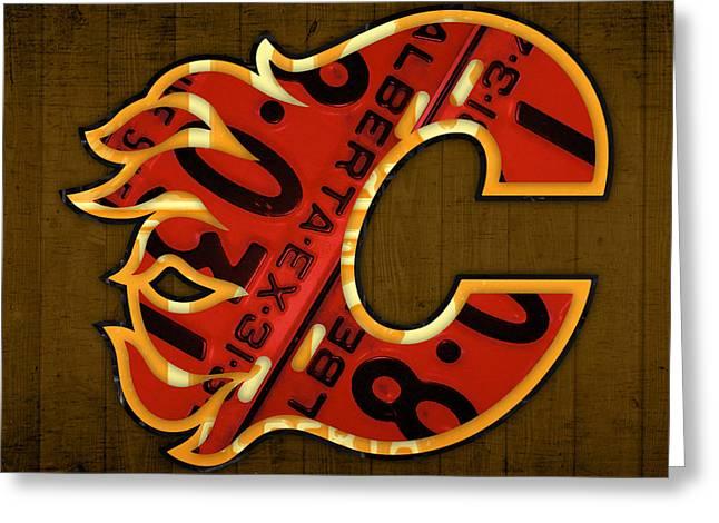 Calgary Greeting Cards - Calgary Flames Hockey Team Retro Vintage Logo Recycled Alberta Canada License Plate Art  Greeting Card by Design Turnpike
