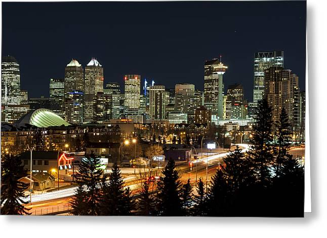 Calgary Greeting Cards - Calgary Skyline Greeting Card by Domenik Studer