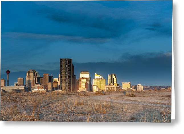 Calgary Skyline Sun Reflections Greeting Card by Domenik Studer