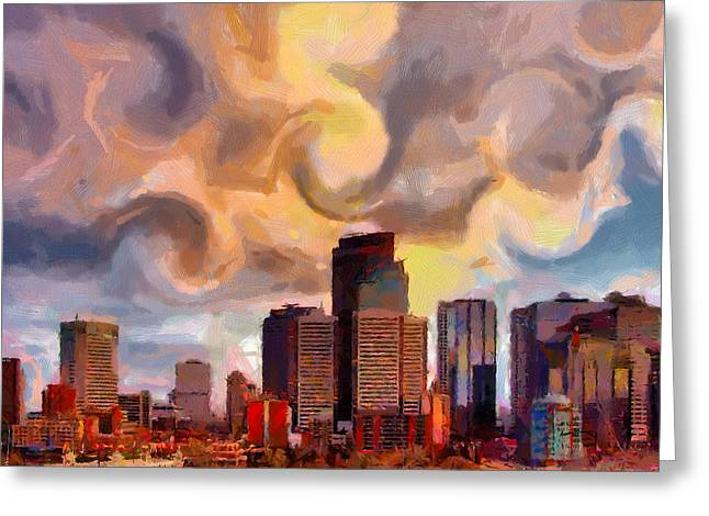 Anthony J Caruso Greeting Cards - CalgarySkyline Greeting Card by Anthony Caruso