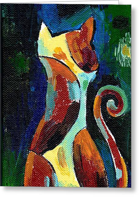 Calico Cat Abstract In Moonlight Greeting Card by Genevieve Esson