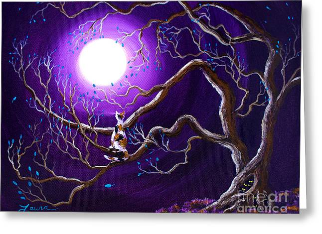 Calico Greeting Cards - Calico Cat in Haunted Tree Greeting Card by Laura Iverson