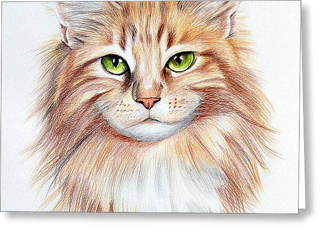 Calico Greeting Cards - Calico Cat Greeting Card by Lena Auxier