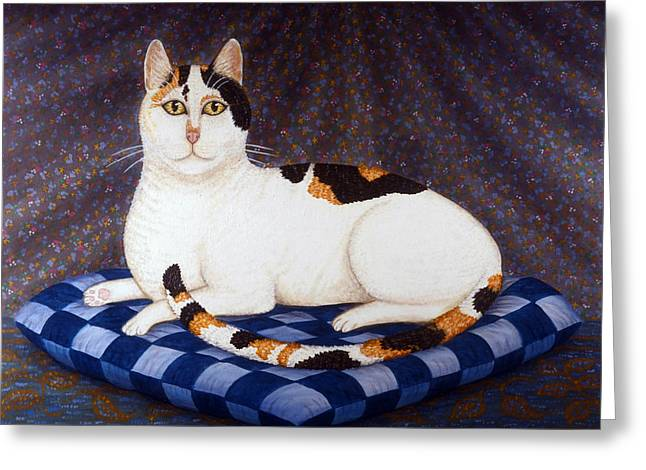Calico Cat Portrait Greeting Card by Linda Mears