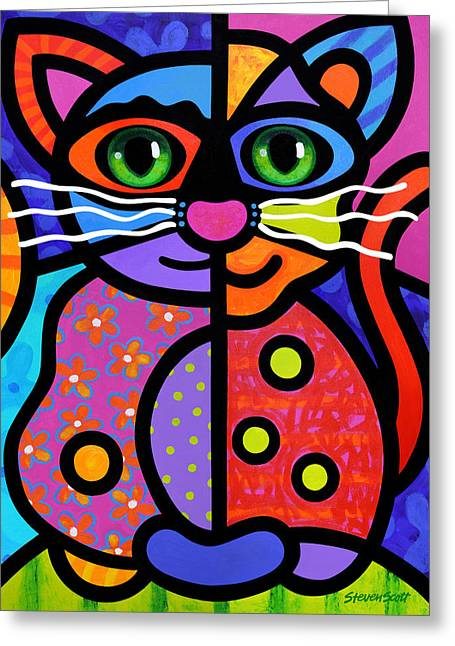 Abstract Cat Greeting Cards - Calico Cat Greeting Card by Steven Scott