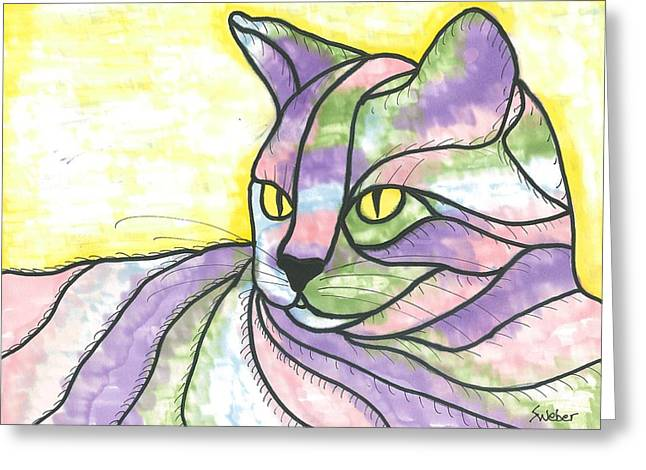 Susie Weber Greeting Cards - Calico Cat Greeting Card by Susie Weber