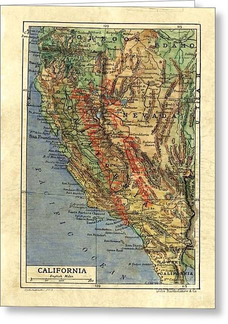 Map Of The Hand Greeting Cards - California 1906 Greeting Card by Lisa Middleton