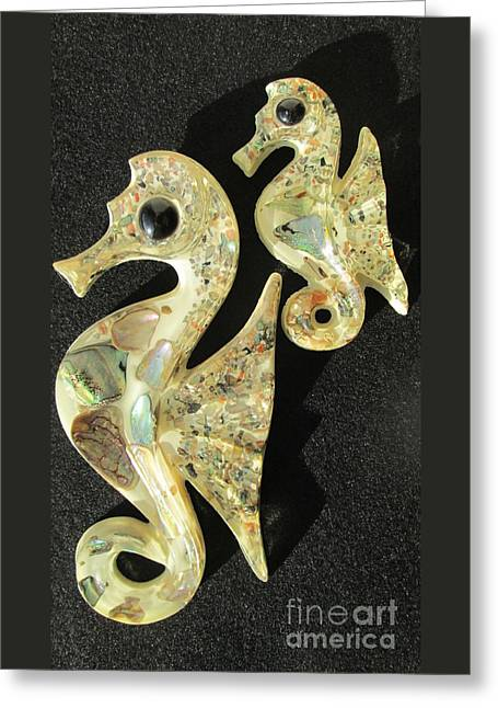 Pictures Sea Creatures Photographs Greeting Cards - California Abalone Sea Horses Greeting Card by Peter Gumaer Ogden