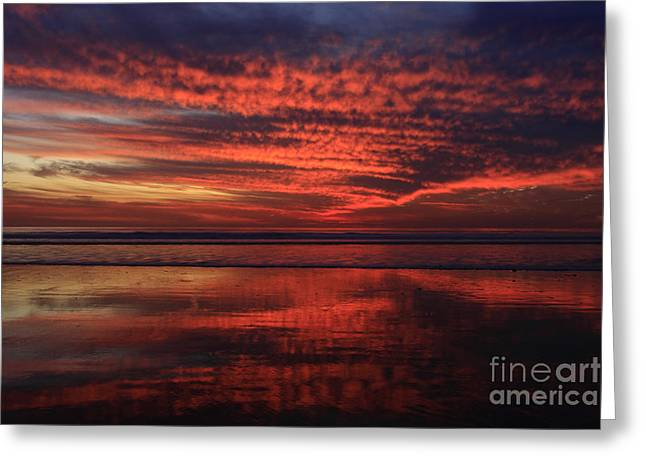 Ocean Art Photography Greeting Cards - Cardiff Afterglow Greeting Card by John Tsumas