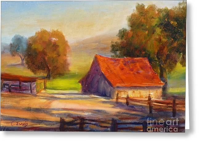 Sonoma County Paintings Greeting Cards - California Barn Greeting Card by Carolyn Jarvis