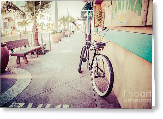Main Street Greeting Cards - California Beach Cruiser Bike Retro Picture Greeting Card by Paul Velgos