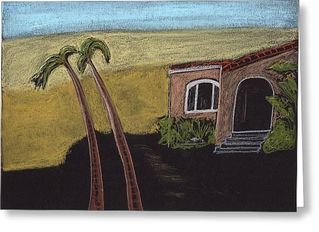 California Beaches Drawings Greeting Cards - California Beach House Greeting Card by Jim Taylor