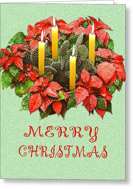 Cacti Digital Greeting Cards - California Cactus Christmas Greeting Card by Mary Helmreich