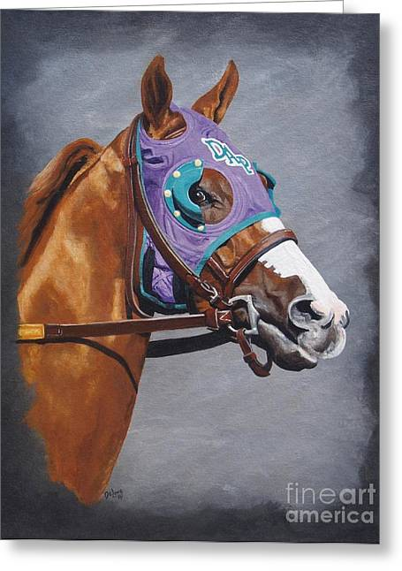 Preakness Stakes Greeting Cards - California Chrome w/nasal strips Greeting Card by Pat DeLong