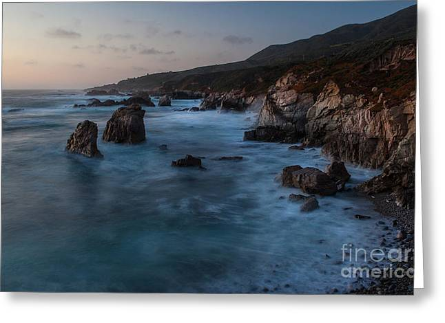 California Coast Dusk Greeting Card by Mike Reid