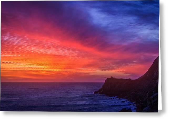 Coast Highway One Greeting Cards - California Coastal Sunset  Greeting Card by Lynn Bauer
