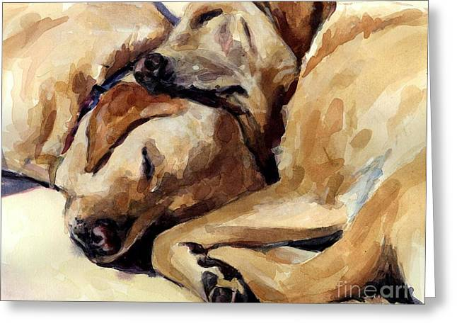Sleeping Dogs Greeting Cards - California Dreamers Greeting Card by Molly Poole