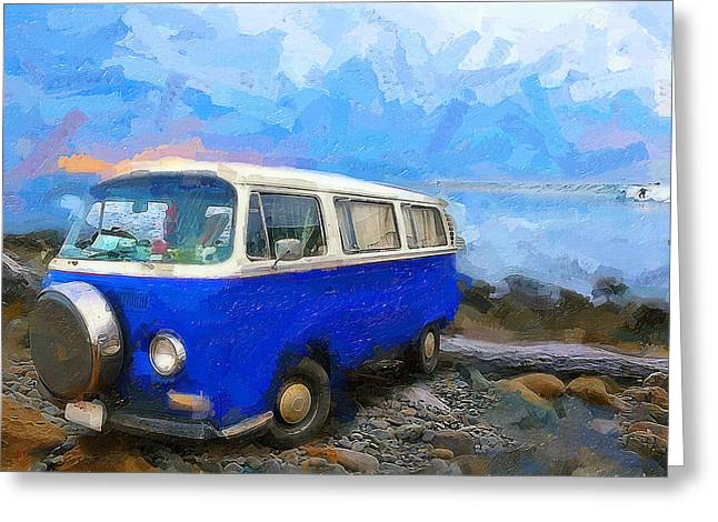 Surfing Photos Digital Art Greeting Cards - California Dreamin Blue Greeting Card by Ron Regalado