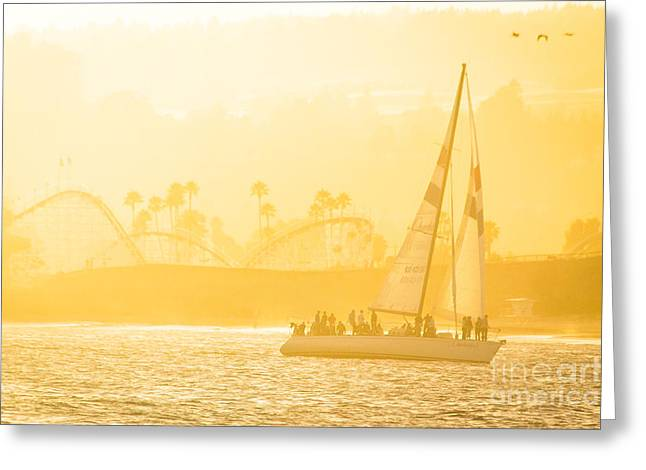 Santa Cruz Sailboat Greeting Cards - California Dreamin Greeting Card by George  Saitas