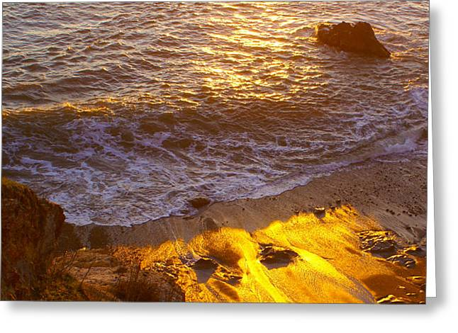 Surf Photos Art Greeting Cards - California Gold Sunset at the Beach Greeting Card by Barbara Snyder