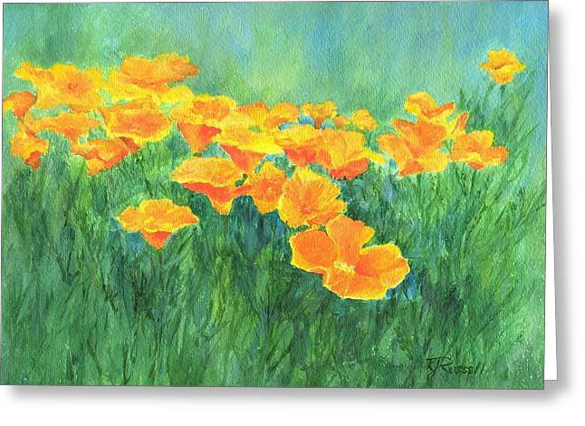 K Joann Russell Greeting Cards - California Golden Poppies Field Bright Colorful Landscape Painting Flowers Floral K. Joann Russell Greeting Card by K Joann Russell