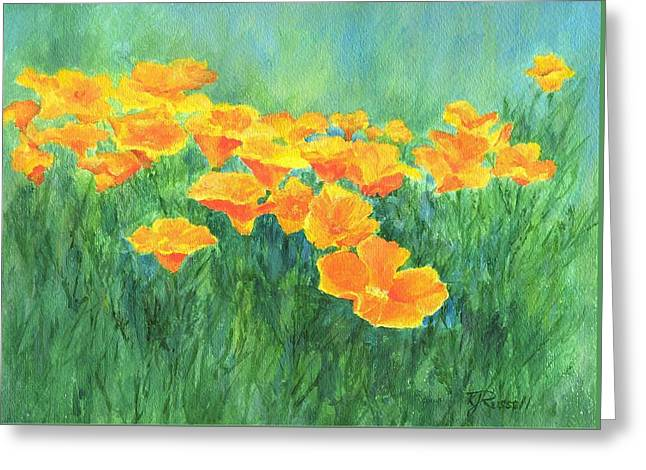 California Golden Poppies Field Bright Colorful Landscape Painting Flowers Floral K. Joann Russell Greeting Card by K Joann Russell