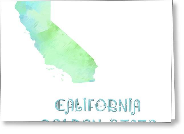 State Phrase Greeting Cards - California - Golden State - Map - State Phrase - Geology Greeting Card by Andee Design