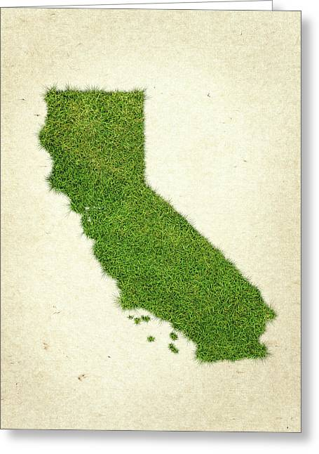 Planet Map Mixed Media Greeting Cards - California Grass Map Greeting Card by Aged Pixel