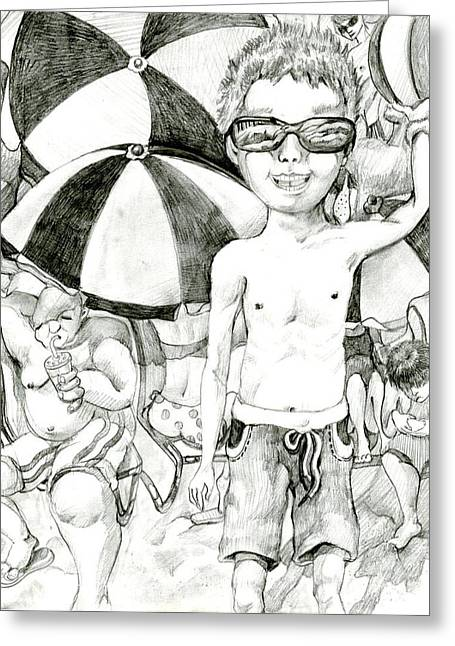 California Beaches Drawings Greeting Cards - California Kid by Shine Kim 9th Grade Greeting Card by California Coastal Commission