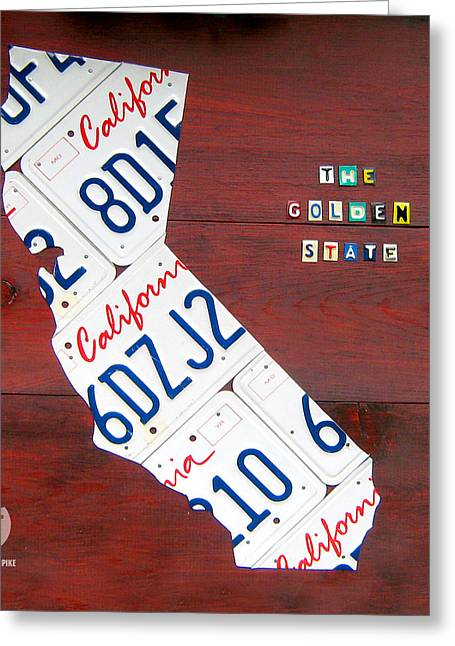 Sonoma County Mixed Media Greeting Cards - California License Plate Map Greeting Card by Design Turnpike
