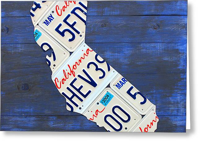 California Art Greeting Cards - California License Plate Map On Blue Greeting Card by Design Turnpike