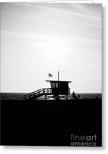 Shack Greeting Cards - California Lifeguard Stand in Black and White Greeting Card by Paul Velgos