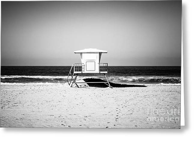 Shack Greeting Cards - California Lifeguard Tower Black and White Picture Greeting Card by Paul Velgos
