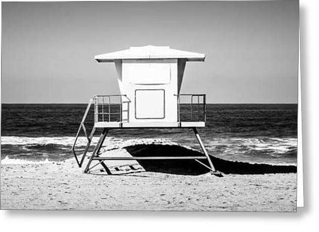 Pacific Ocean Prints Greeting Cards - California Lifeguard Tower Panoramic Picture Greeting Card by Paul Velgos