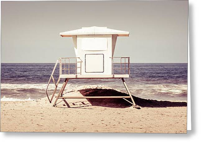 Huntington Beach Greeting Cards - California Lifeguard Tower Retro Panoramic Picture Greeting Card by Paul Velgos