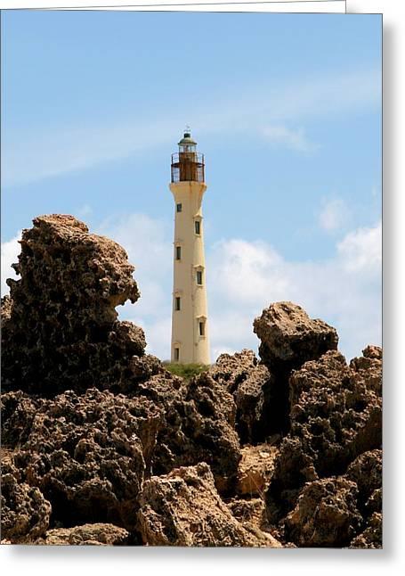 Aruba Greeting Cards - California Lighthouse Aruba Greeting Card by DJ Florek
