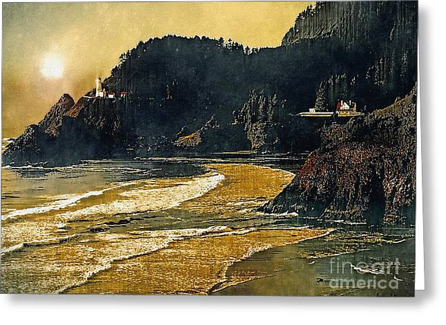 Coast Highway One Greeting Cards - California Lighthouse Greeting Card by Barbara D Richards