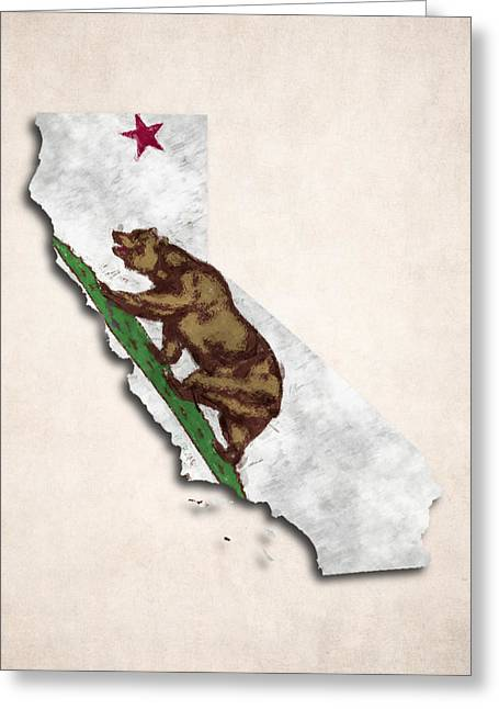 Geographic Digital Art Greeting Cards - California Map Art with Flag Design Greeting Card by World Art Prints And Designs