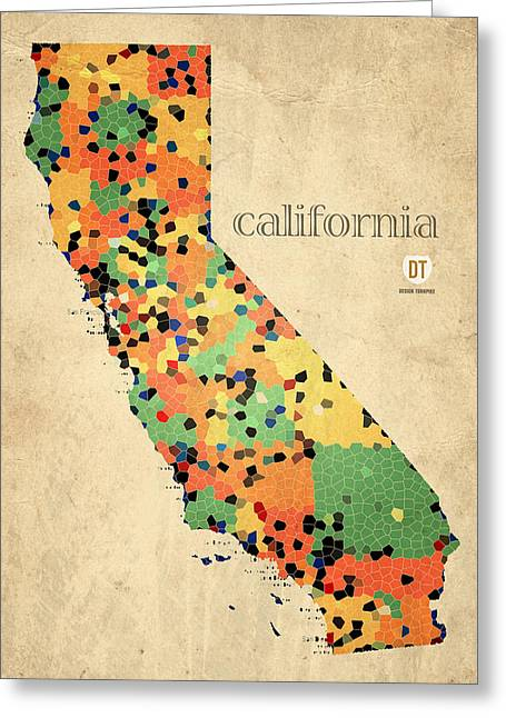 Sacramento Greeting Cards - California Map Crystalized Counties on Worn Canvas by Design Turnpike Greeting Card by Design Turnpike