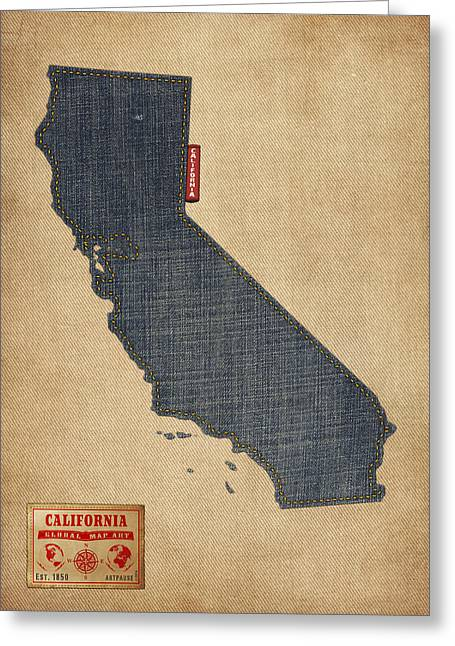 West Coast Greeting Cards - California Map Denim Jeans Style Greeting Card by Michael Tompsett
