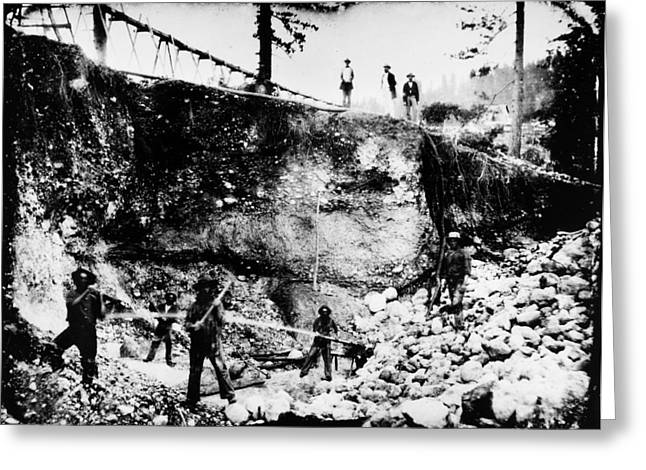 1850s Greeting Cards - CALIFORNIA: MINING, 1850s Greeting Card by Granger