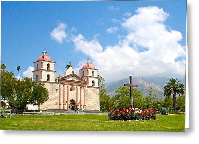 Catholic Pyrography Greeting Cards - California Mission at Santa Barbara Greeting Card by DUG Harpster