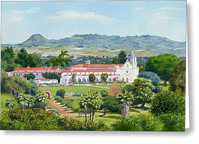 Historic Sites Greeting Cards - California Mission San Luis Rey Greeting Card by Mary Helmreich