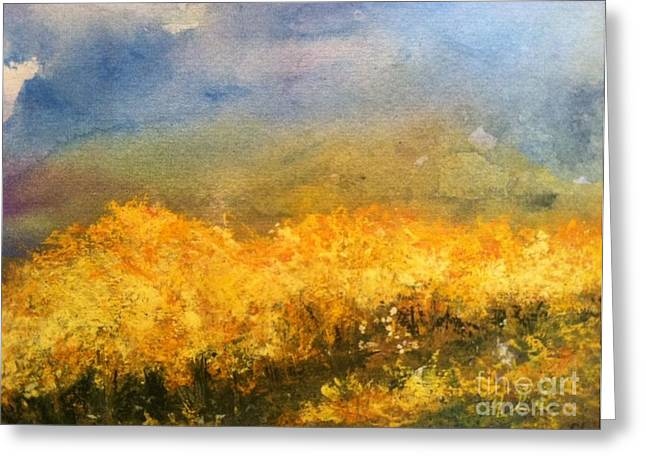 Wild Orchards Paintings Greeting Cards - California Orchards Greeting Card by Sherry Harradence